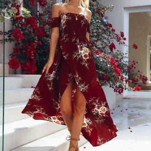 Inside Job Maxi Dress Wine Floral